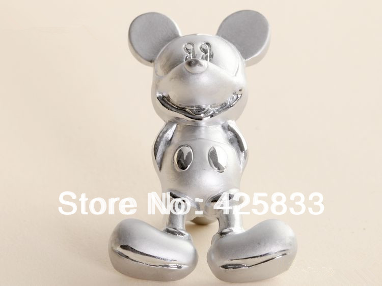 Fashion 10pcs Silver Mickey Mouse Handles Furniture Kids Bedroom Cartoon Drawer Knobs for Kitchen Cabinet Drawer Pulls(China (Mainland))
