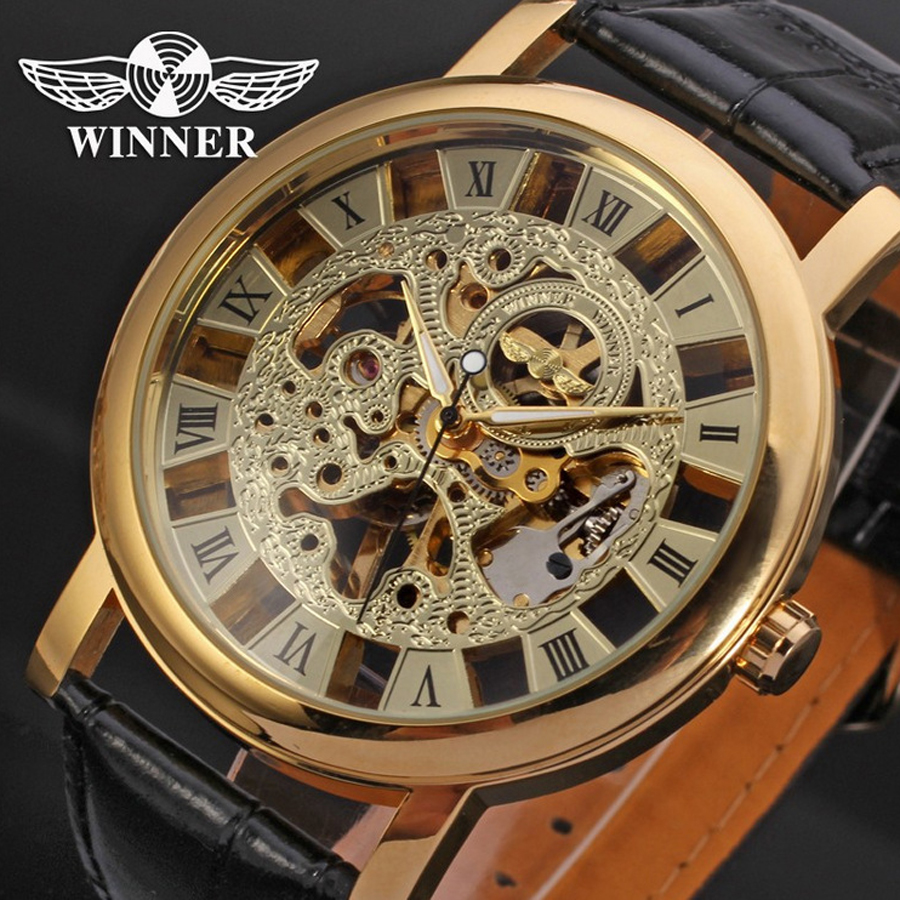 New Winner Men Fashion Casual Dress Mechanical Watches Auto Date Leather Strap Wristwatch Waterproof Shockproof Relogio Rolojes(China (Mainland))