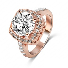 LZESHINE Brand Ring Jewelry Cubic Zirconia Ring 18K Rose Gold Plate SWA Elements Austrian Crystal Fashion Finger Ring ITL-RI0032
