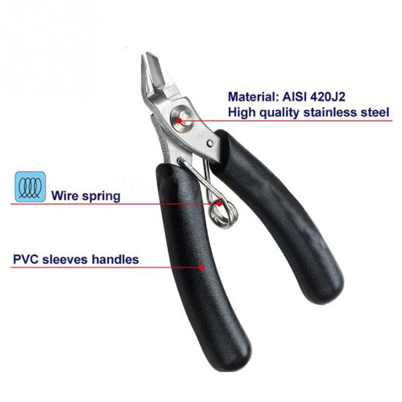 Electrical Micro Wire Cutting Plier Cable Side Cutter Snips Flush Pliers Tool (Black)(China (Mainland))