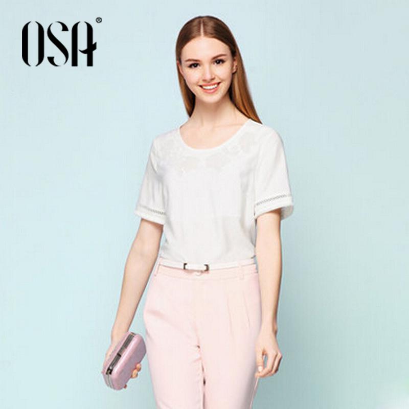 OSA 2015 summer style blouse women new female elegant applique hollow flash women shirt SC505046(China (Mainland))