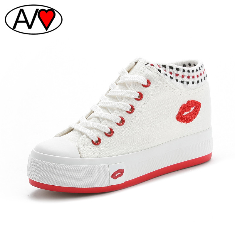 2016 Canvas Shoes Female Spring Platform Womens Shoes Red High Solid Color Casual Female Footwear Ladies Shoes<br><br>Aliexpress