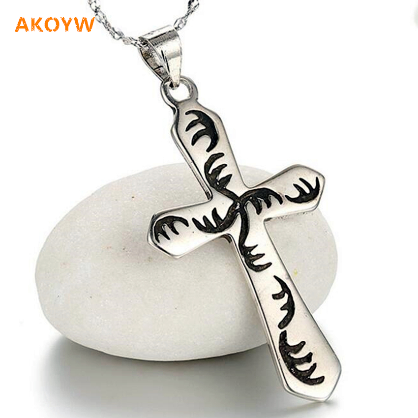 High quality Thai silver black cross pendant necklace, Ms. fashion new retro personality black silver jewelry (no necklace)(China (Mainland))