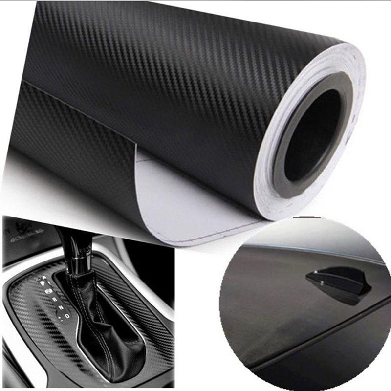 Free Shipping 127X30cm 3D Black Carbon Fiber Vinyl Film Carbon Fibre Car Wrap Sheet Roll Film