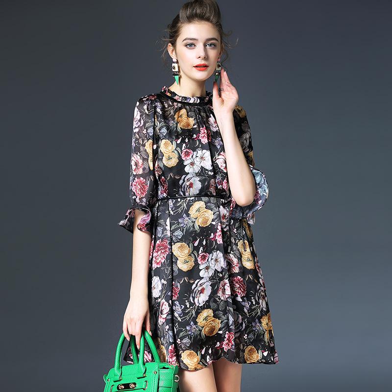 Floral dress new 2016 spring print floral vintage women dress half sleeve O neck dresses women high end vestidos Q6016