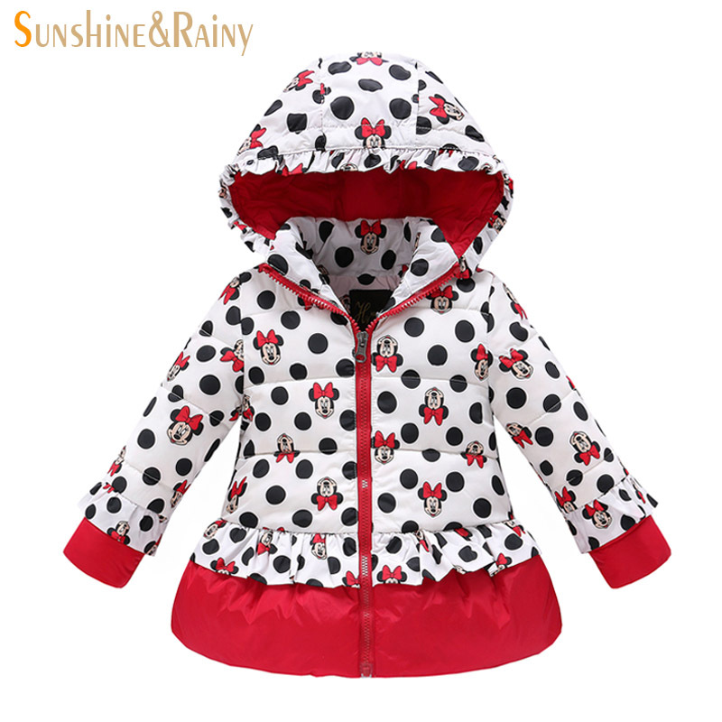 2015 New Arrival Minnie Kids Clothing Long Sleeve Winter Coat Jacket Down Children Girls Keep Warm White Duck Down Hight Quality(China (Mainland))