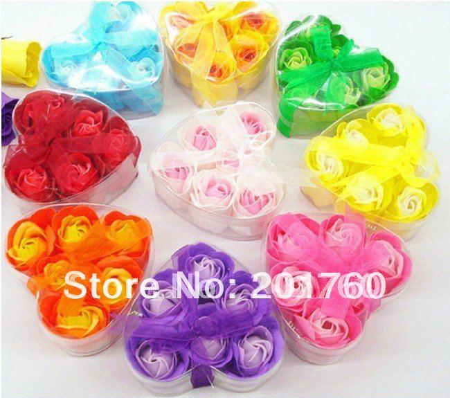 120 pcs (1box=6pcs) two-tone Soap flower wedding Gifts rose natural material mix soaps free shipping(China (Mainland))