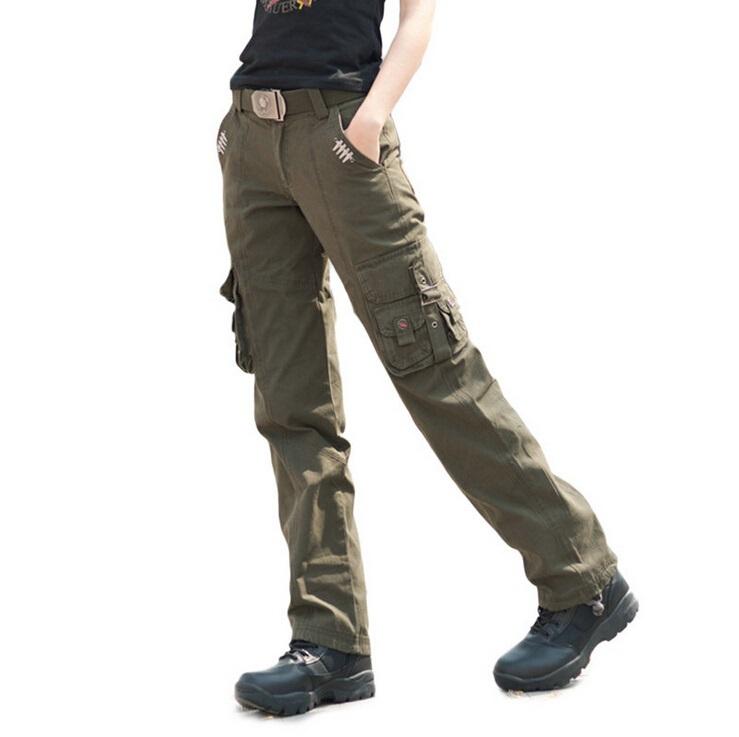 Model WomensMilitaryArmyGreenCargoCasualPocketPantsLeisureTrousers