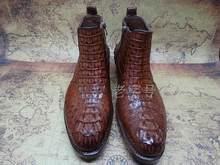 Sipriks erkek ısmarlama Goodyear botları benzersiz siyah timsah derisi fermuar çizmeler timsah derisi deri çizmeler kahverengi erkek yarım çizmeler(China)
