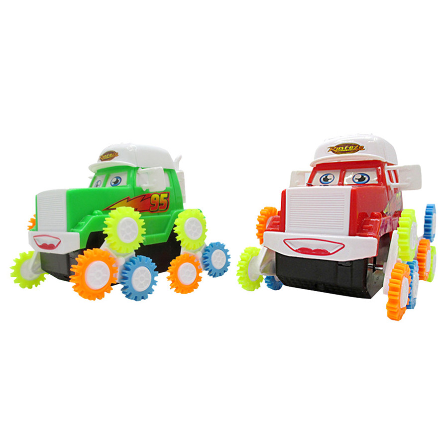 Battery Operated Cute Cartoon Somersault Car Truck Toy Kids' Creative Toy Children Boys Gifts Free shipping(China (Mainland))