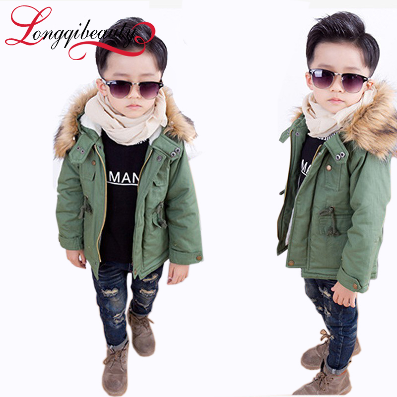 2015 New Boys Jackets Winter Coat Solid Long Sleeve Boys Coat Hooded Kids Clothes Fashion Thick Warm Children Clothing 2 Colors<br><br>Aliexpress