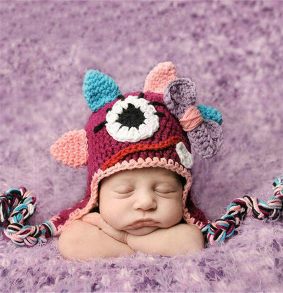 2015 Newborn baby hats and caps crochet newborn baby hat knitted girl monster caps baby girl costume baby photo shoot props(China (Mainland))