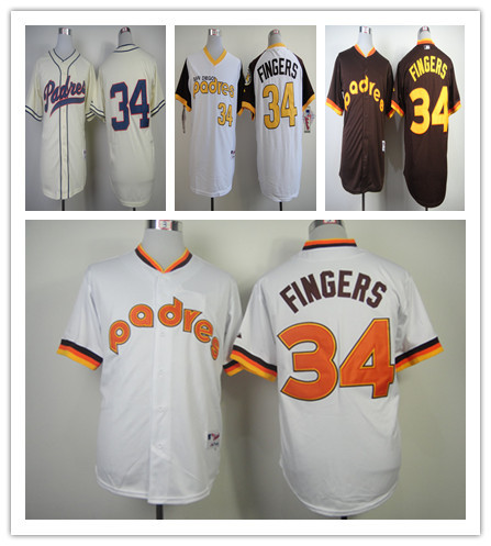 2015 New Men Rollie Fingers Jersey San Diego Padres  Jersey 34 Size S ~ XXXL Throwback Embroidery Shirt Free Shipping Wholesale<br><br>Aliexpress