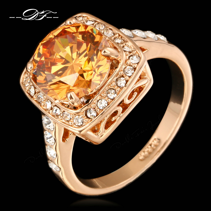 Big Crystal Framed Wedding Finger Ring For Womens Rose Gold Plated Fashion Brand Imitation Gemstone Jewelry anel DWR057()
