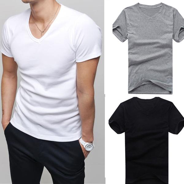 Горячие мужчины одежда майка высокого эластичный хлопок мужская с коротким рукавом v шеи туго рубашки мужчины футболки Teefree доставка # L034808