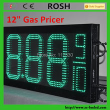 Hotsale fuel station led digital seven segment 12 inches outdoor Green color gas price sign USA standard 8.88 9/10(China (Mainland))