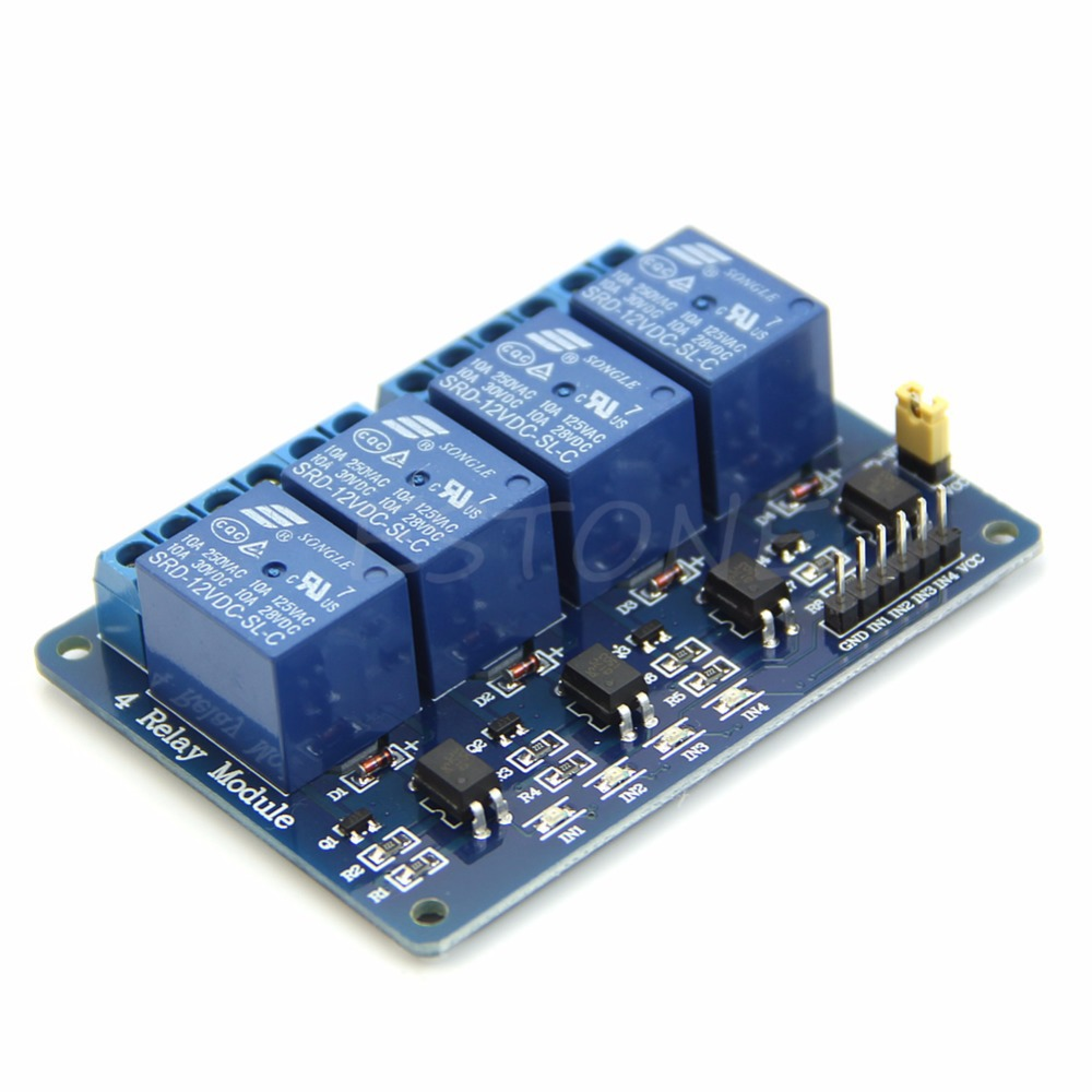 12V 4 Channel Relay Module with Optocoupler PIC AVR 51 ARM Arduino Single Chip
