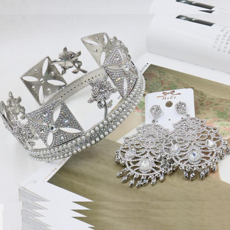 Здесь можно купить  European and American big round Diana married Crown hand-inlaid pearl headband crown Baroque fashion accessories  Ювелирные изделия и часы