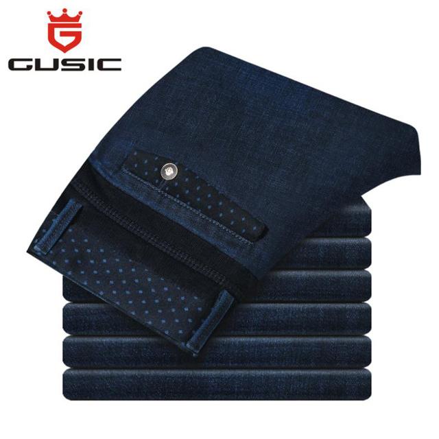 Мода мужские джинсы марка GUSIC джинсы зимой Большой размер ( 28 - 44 ) брюки свободного ...