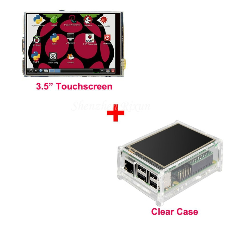 "Best Price Original 3.5"" LCD TFT Touch Screen Display for Raspberry Pi 2 / Raspberry Pi 3 Model B Board + Acrylic Case +Stylus(China (Mainland))"
