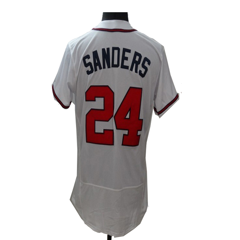 2016 Nuevo Tejido Flexbase Versión #24 Deion Sanders Jersey Color Rojo Gris Blanco termoselladas Tagless Camisetas(China (Mainland))