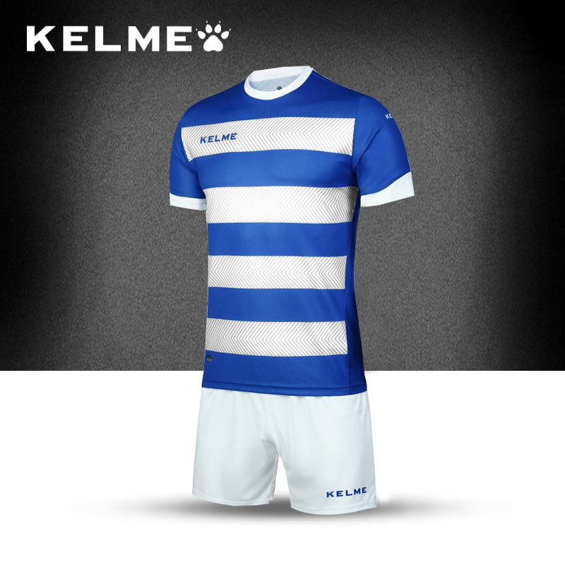 KELME 2017 Survetement Men's Team Soccer Sets Training Short sleeves Stripe Jerseys Shorts Football Uniforms K15Z214-1(China (Mainland))