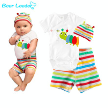 Bear Leader  2016 baby wear romp Candy color cartoon insect insect ha clothing 3 Rompers, clothing + pants + hat(China (Mainland))
