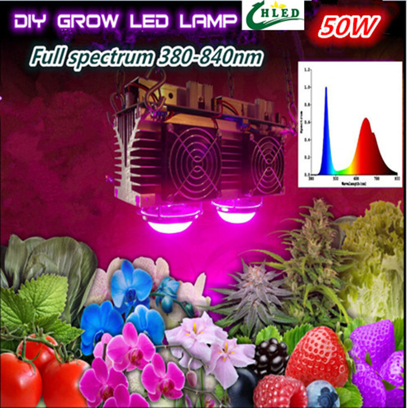 Фотография cob led grow light led power supply+ heatsink+ lens+ fans!! led grow light  full spectrum 50w 380-840nm  Free Shipping