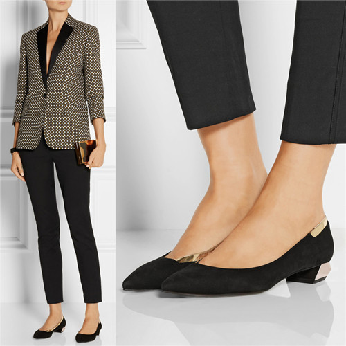 Big Size 40 Fashion Ladys Pumps Spring Pointed Toe Natural Real Leather Office Low Hoof Heels Female Plain Black Shoes<br><br>Aliexpress