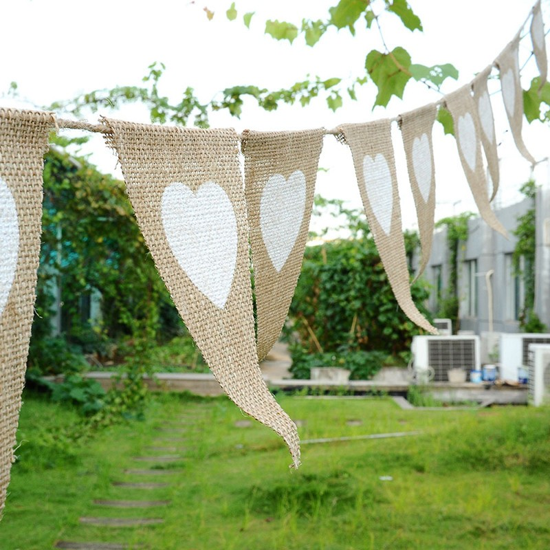 Linen Triangular Flags Bunting bridal shower Banner Outdoor Decor Wedding Event Party Supplies Bachelorette Party Dresses burlap(China (Mainland))