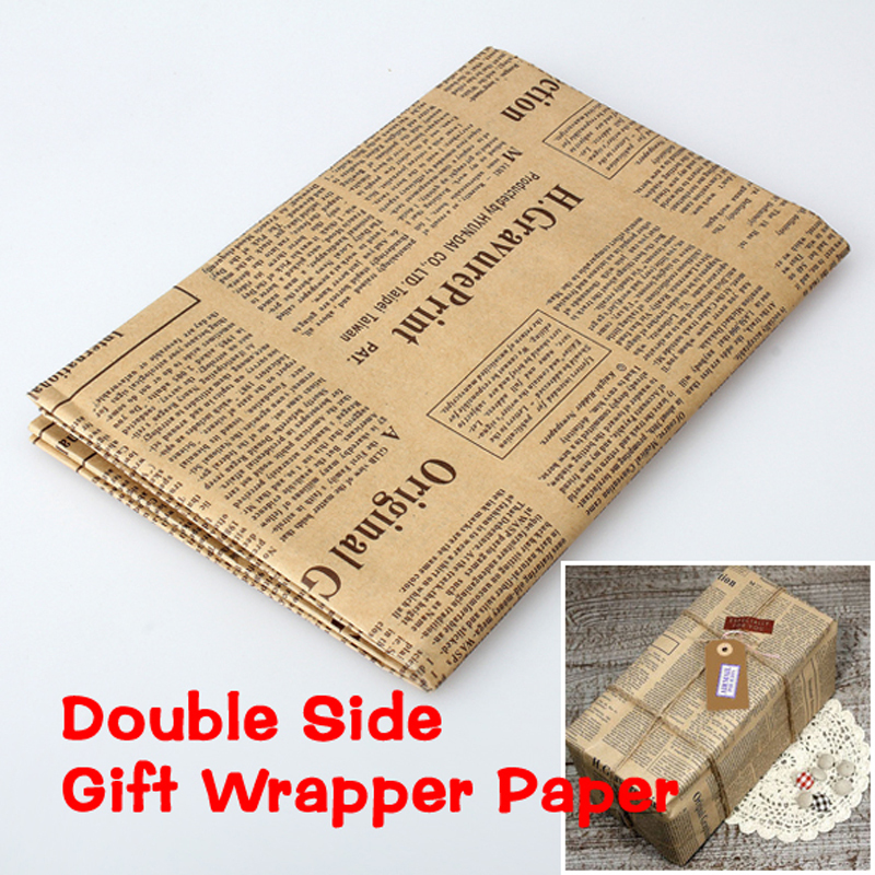 Vintage Newspaper Style Wrapping Paper Wrap Gift Wrap Double Sided Christmas Kraft Paper Vintage(China (Mainland))