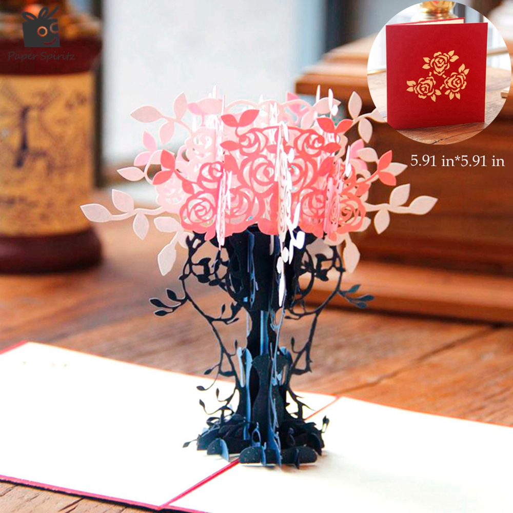 Thank You Cards Postcard with Envelopes 3D pop up Paper Laser Cut Birthday greeting card Valentines Day gift for lover Flowerpot(China (Mainland))