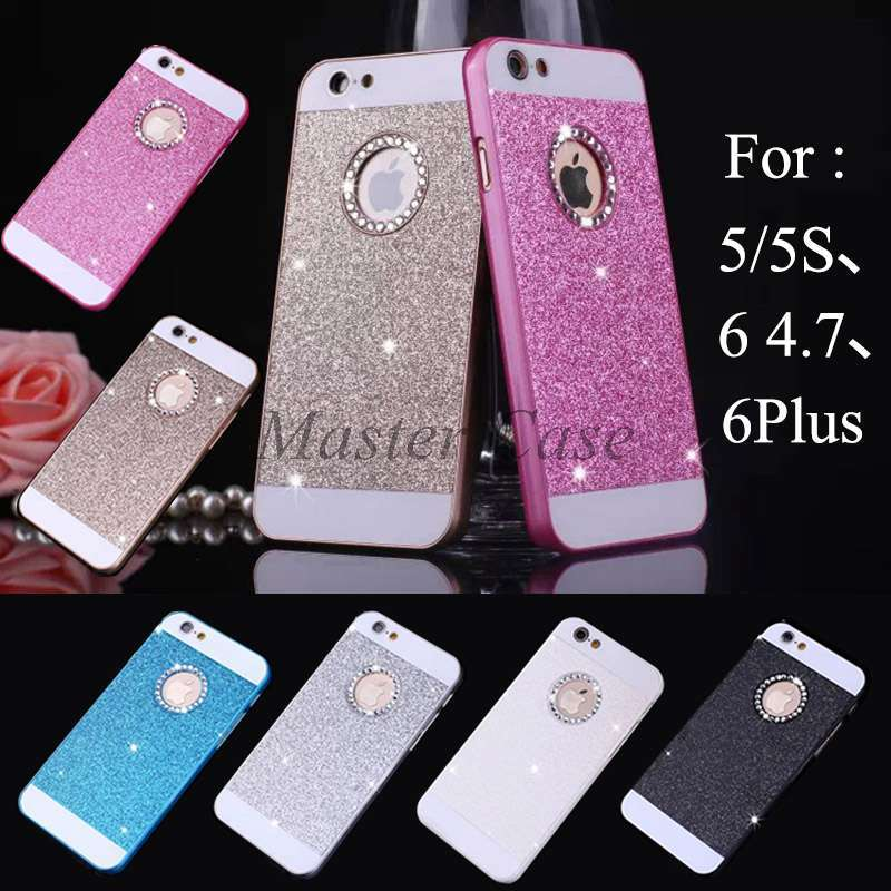 "2015 Bling Logo Window Luxury phone case for iPhone 6 4.7"" 5 5S Shinning back cover Sparkling case for iPhone 6 Plus Free Gift !(China (Mainland))"