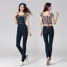 2016 Fashion Denim Jumpsuit Jeans For Women Cotton Pockets Long Mid Waist Jeans Blue Light weight Pencil Skinny Jeans Woman