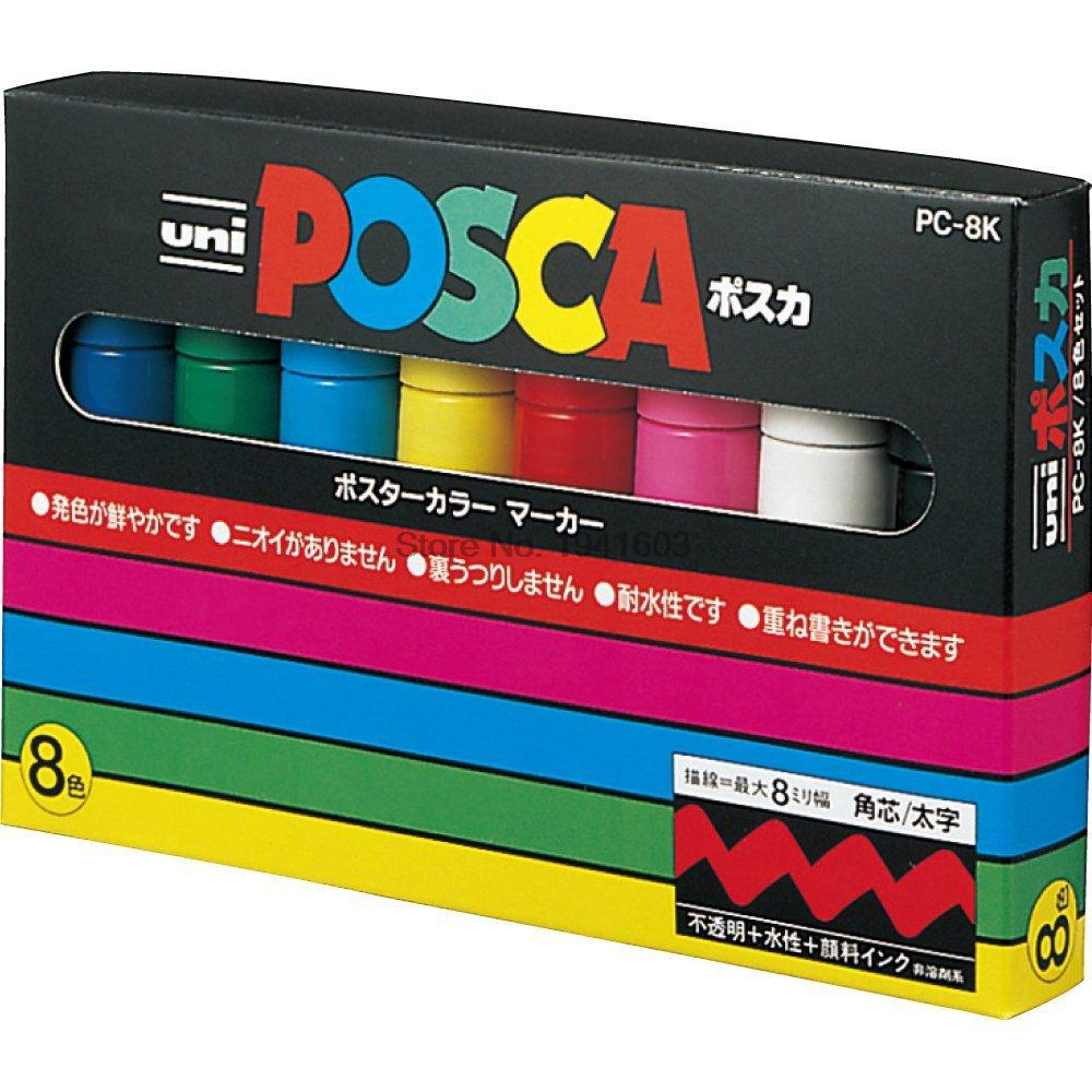 Uni Posca PC-8K Paint Marker-Broad Tip-8mm 8 colors set