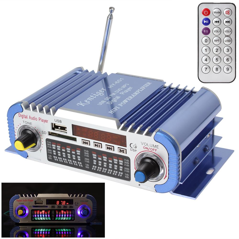 HY601 Blue 2 Channels Hifi Mini Digital Car Audio Stereo Power Amplifier Sound Mode Audio Music Player Support USB / FM /(China (Mainland))