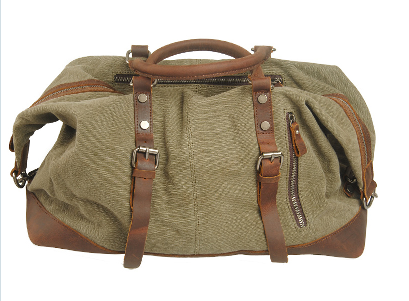 2014 fashion men travel bags genuine leather canvas bag man sport shoulder MC831 - Fashion Warehouse store