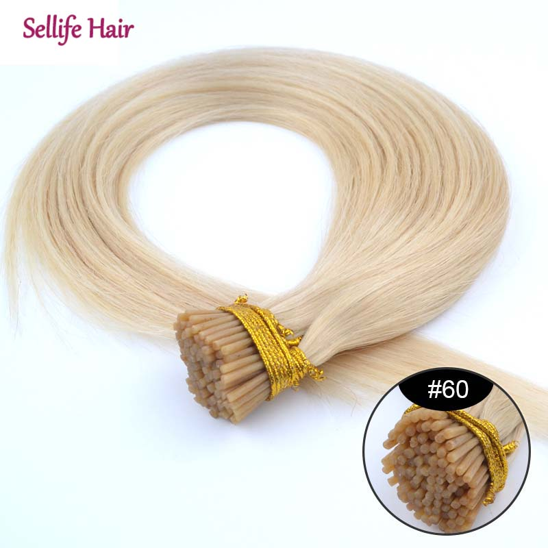 New Fuller Hair Extension 24inch/60cm 1g/s 100grams Pre Bonded Stick Hair I Tip Hair Extensions #60 White Blonde 100% Real Human<br><br>Aliexpress