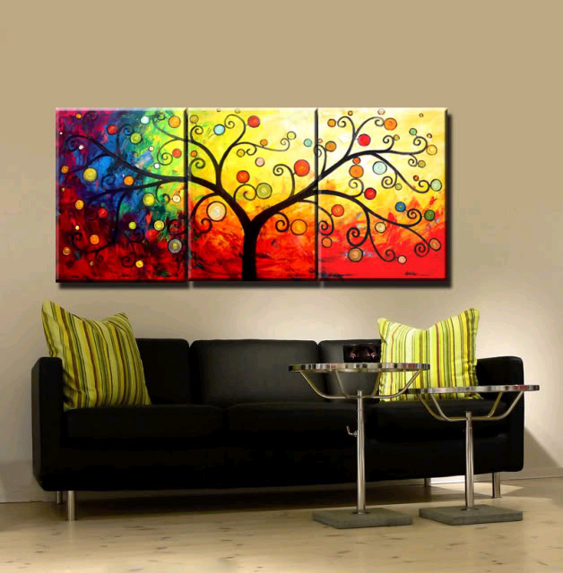 New 3 Piece Canvas Art Hand Painted Canvas Modern Abstract Tree Oil Paintings For Living Room Wall Decoration Home Unique Gift(China (Mainland))