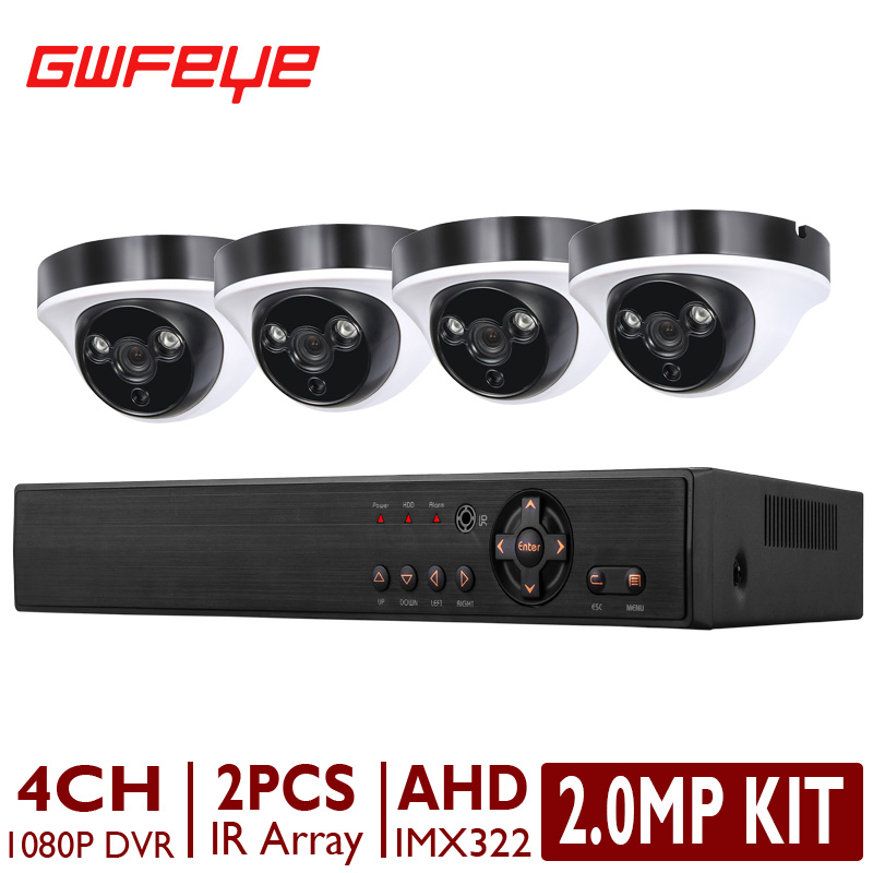 GWFEYE 4 Channel 1080P HD CCTV AHD DVR System Kits With 4PCS 2.0MegaPixel Indoor Dome AHD Security Surveillance Cameras IMX322(China (Mainland))