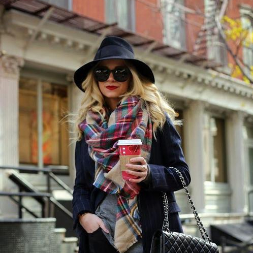 Europe and the British Style Color Plaid Cashmere Scarves Female Oversized Fringed Shawl Dual Autumn and