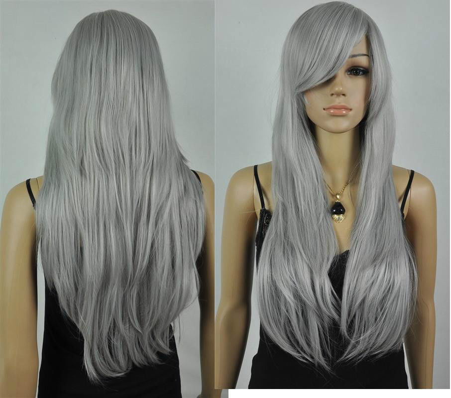 Wholesale heat resistant LY free shipping fashion Gray long straight cosplay font b wig b font