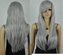 Wholesale& heat resistant LY free shipping>>>fashion Gray long straight cosplay wig