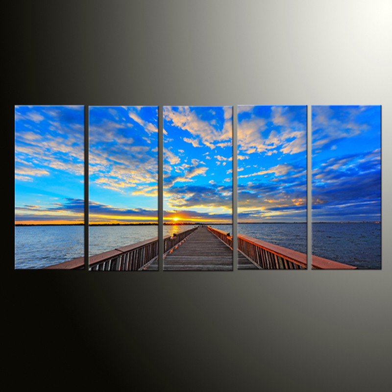 5 Pieces Sky blue Sea Room Deco Painting On Canvas Modern Home Prints Liveing Room Deco Top Fashion Wall Art Decorate Poster(China (Mainland))