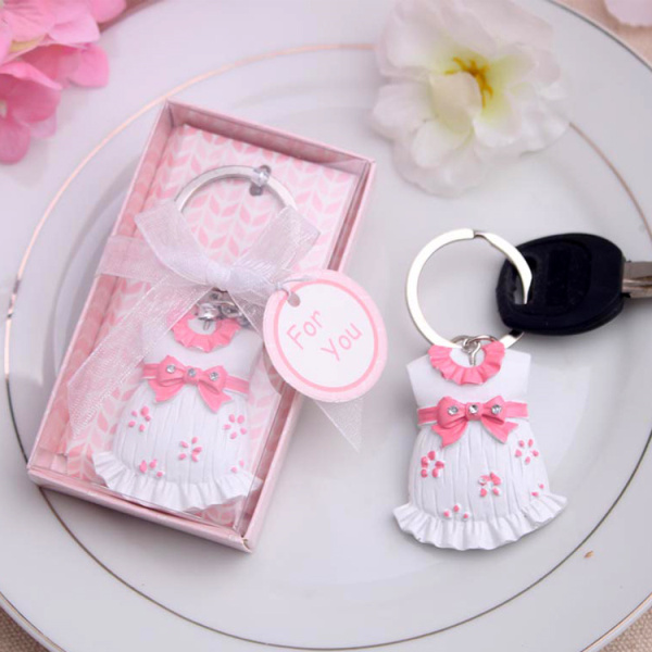 New arrival wedding favors Free shipping 30PCS/LOT Baby Shower Favors and Gift Cute Baby Themed Pink Key Chain Favors for girl(China (Mainland))