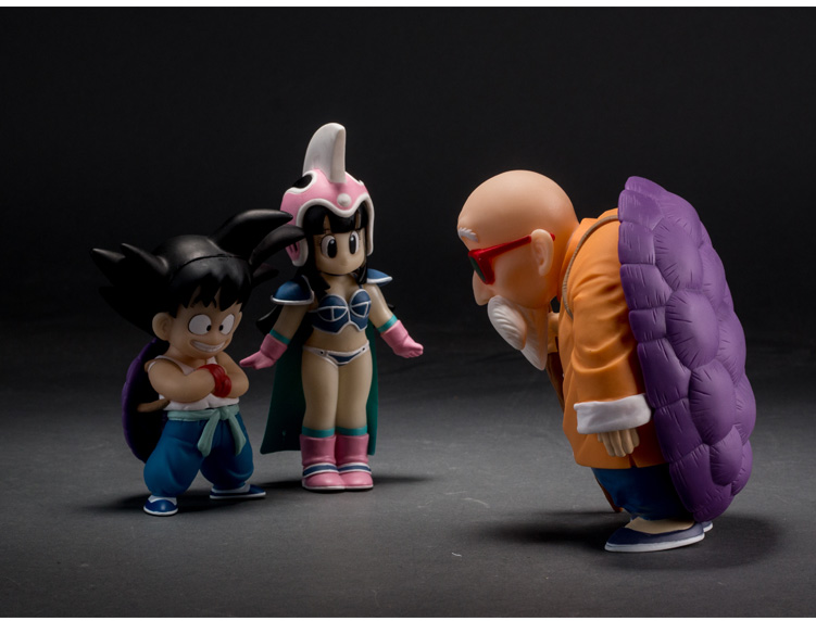 3pcs/lot PVC 11CM-14CM Japanese anime figure Plastic Dragon ball chichi/Master Roshi/Son Goku action figure collectible model(China (Mainland))