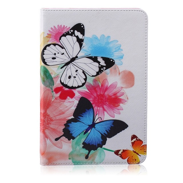 Painting PU Leather Stand Case For Apple iPad mini Case Cover For iPad mini 1 2 3 7.9 inch Shell with Card Holder High Quality