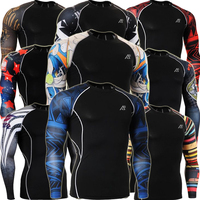 Fashion Prints Mens Compression Fitness Training Running Base Layer Tights Long Sleeve Shirts Tops CPD