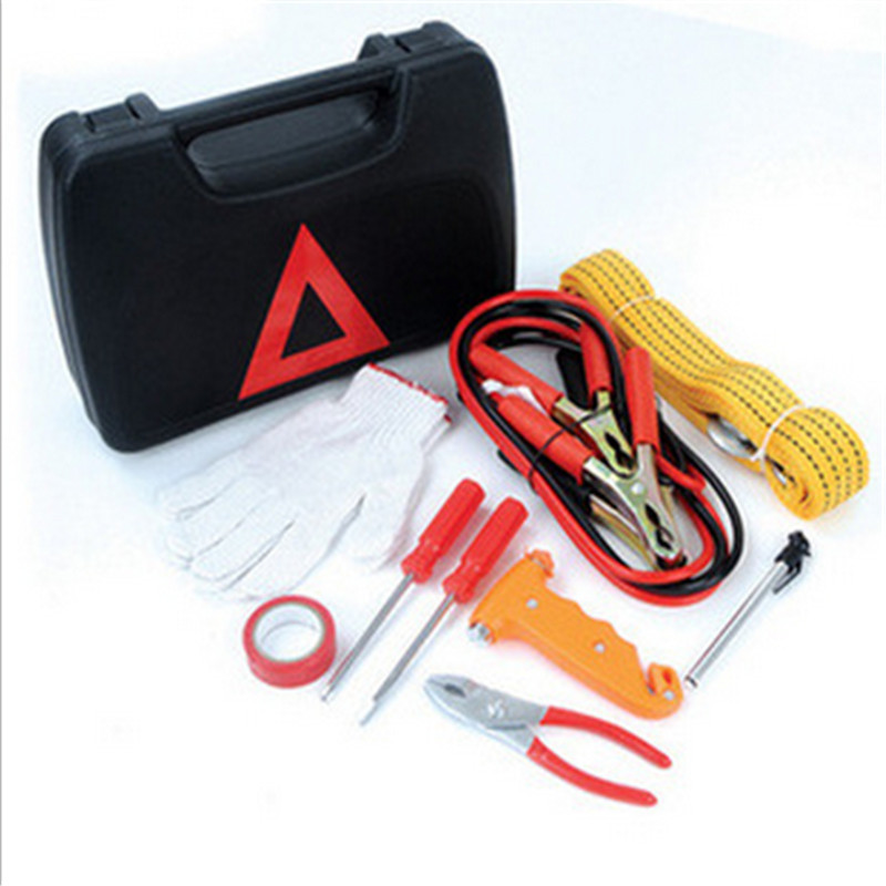 9 pieces car emergency kits include connect string/trailer rope/hammer/tape/2 screwdrivers/pliers/water thermometer/gloves