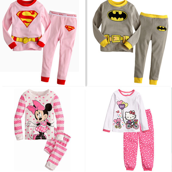 New girls sleepwear baby clothes children clothing sets kids suits cotton pajamas 2 pcs home fashion